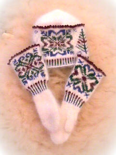 Mittens and Hat set - viewed from one side