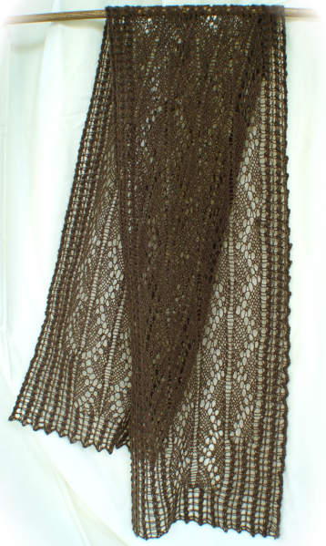 Pillared Archways Lace Scarf in Buffalo Gold pure bison down laceweight yarn