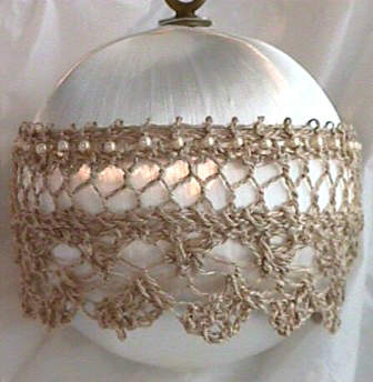 Antique Satin and Lace Ornament