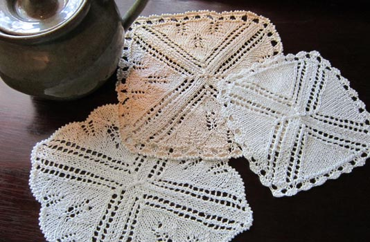 Tea-time napkin, doily and beverage coaster variations