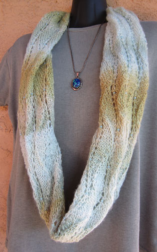 Misty Soft Infinity Tube Scarf worn as a single loop