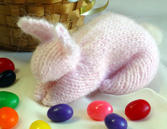 Bunny from a square: Make a bunny from a knitted swatch. It's almost as clever as pulling a rabbit out of a hat!