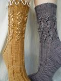Daylight and Shadows Beaded Cable Socks